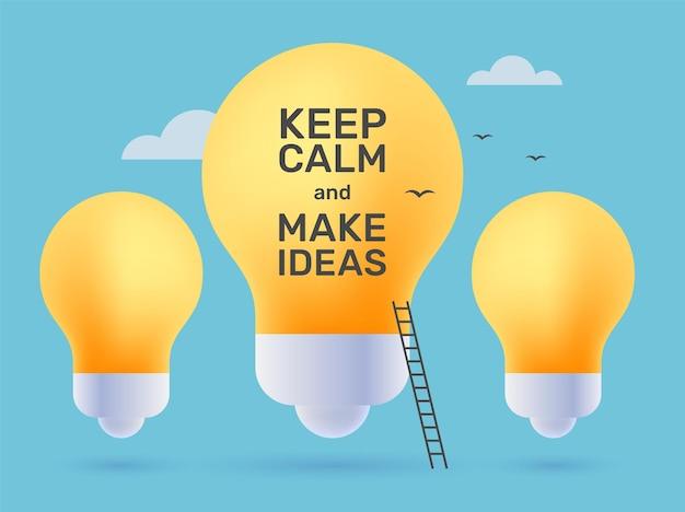Векторные творческие иллюстрации желтой лампочки с лестницей и текстом бизнес успешной карьеры