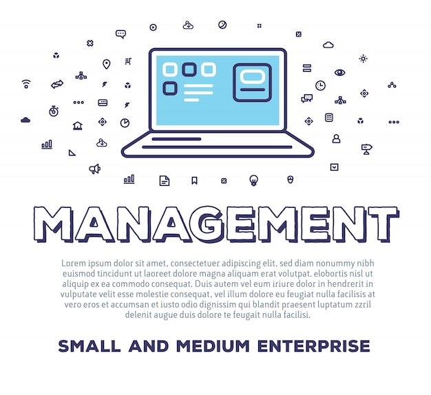 Vector creative illustration of open laptop with word typography and cloud of line icons on white background. time management