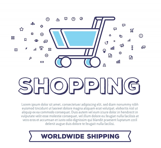 Vector creative illustration of shopping trolley with word typography and cloud of line icons on white background. on line payment technology