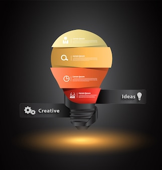 Vector creative light bulb idea with number banners template