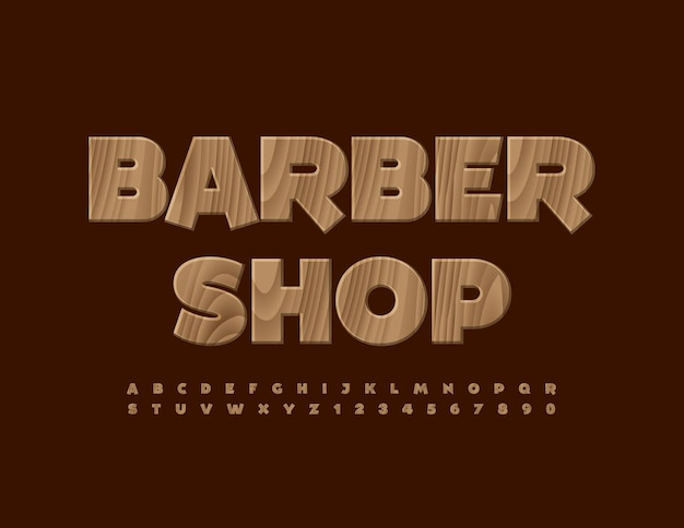 Vector creative logo barber shop tree textured font wooden trendy alphabet letters and numbers set