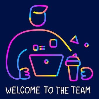 텍스트가 있는 어두운 배경에 노트북과 커피 컵을 들고 있는 사업가의 벡터 창의적인 네온 컬러 삽화. 웹, 사이트, 배너, 포스터, 프레젠테이션을 위한 라인 아트 트렌드 스타일 그래픽 디자인