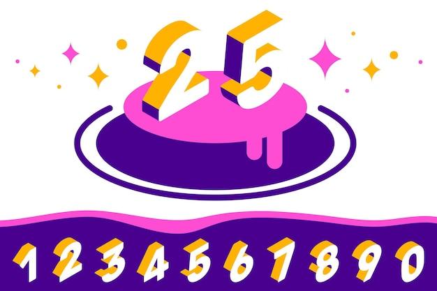 白い色の背景に等尺性の数字のタイポグラフィのセットとカードのベクトルの創造的なテンプレート