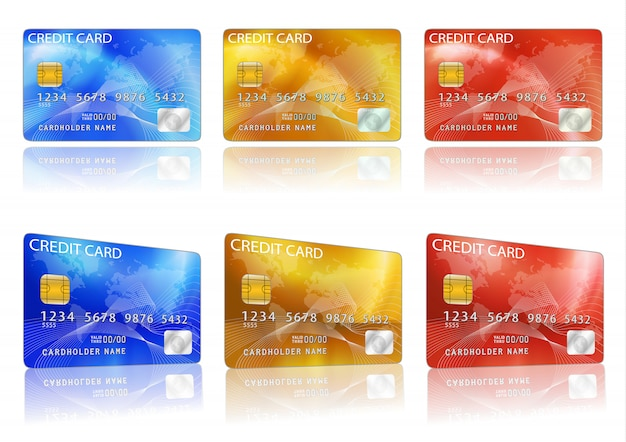 Vector credit card. blue, red, yellow