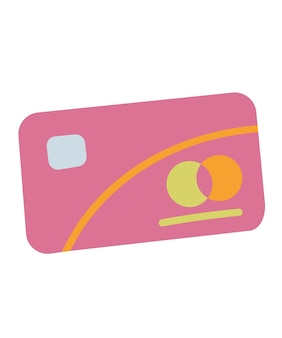 Vector credit card icon. isolated on white background. trending style and color clipart pink