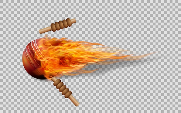 Vector cricket ball in fire on transparent background.