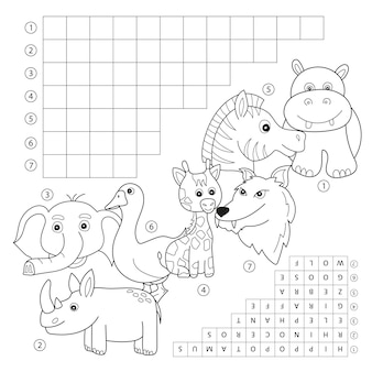 Vector crossword coloring book page, education game for children about animals. kids magazine coloring book word puzzle game. worksheet for kids printable version.