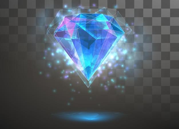 ベクトルクリスタル。要素の力とエネルギー。青、紫、ネオンの輝き。