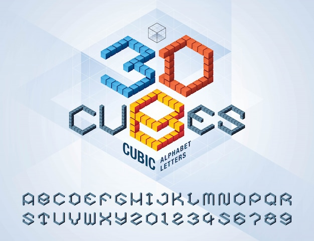Vector of cube alphabet letters and numbers, abstract 3d hexagon stylized fonts