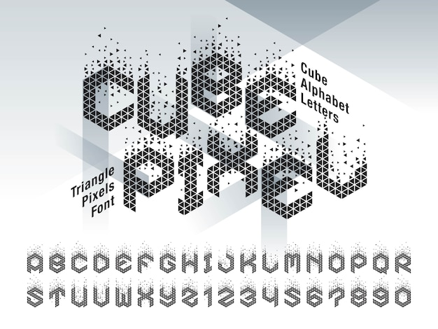 Vector of cube alphabet letters and numbers
