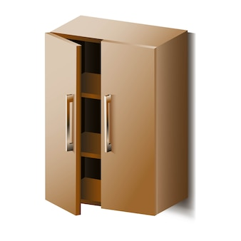 Vector cupboard with shelves. isolated.