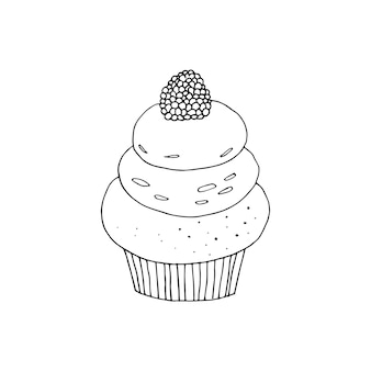 Vector cupcake illustration. doodle cakes with cream and berries.
