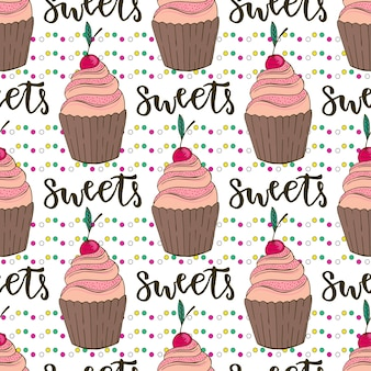 Vector cupcakes seamless pattern. doodle background with sweets cakes. birthday decoration