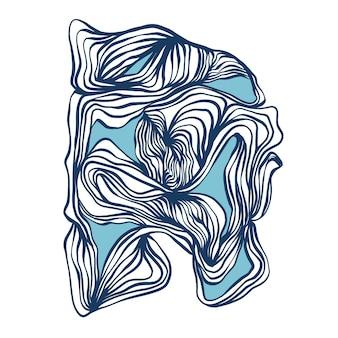 Vector curved line ink brush stroke digital artwork graphic resource