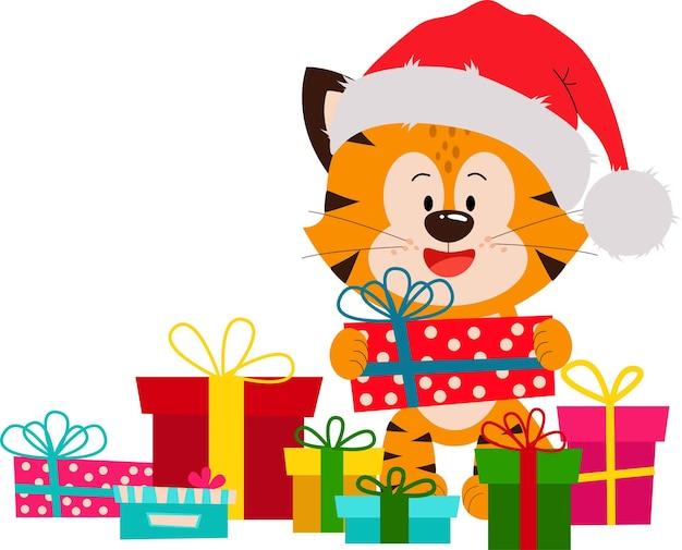 Вектор милый и забавный тигренок с подарочными коробками клипарт для поздравления с новым годом и рождением