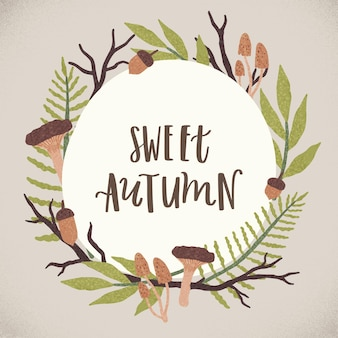 Vector cute autumn illustration and lettering. cute seasonal background
