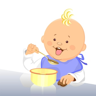 Vector cute baby eats with a spoon from a bowl