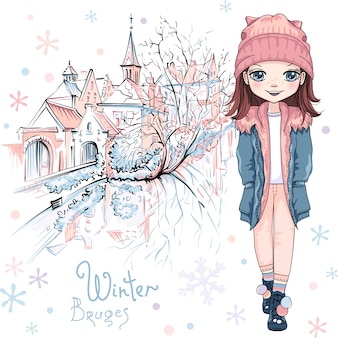 Vector cute baby girl in winter clothes on bruges canal with beautiful medieval houses and church in bruges, belgium