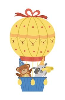 Vector cute bear and raccoon in hot air balloon funny birthday animals
