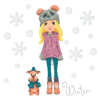 Вектор милая красивая модная девушка в забавной шляпе с мордой панды с собакой