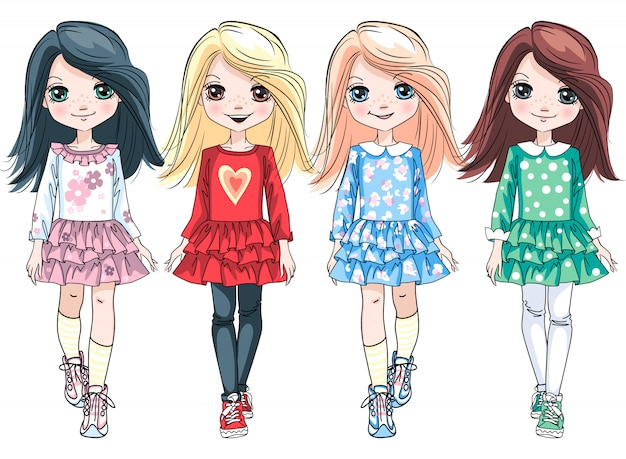 Vector cute blond, redhead and brunette baby girls in colorful dresses