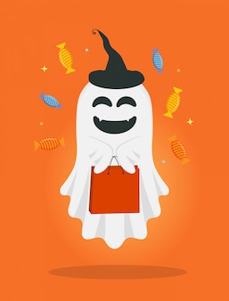 Vector cute cartoon ghost with bag and candies