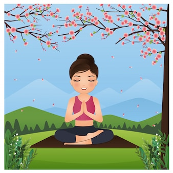 Vector cute cartoon relaxing young girl practices yoga and meditates in beautiful nature and flowers.landscape background