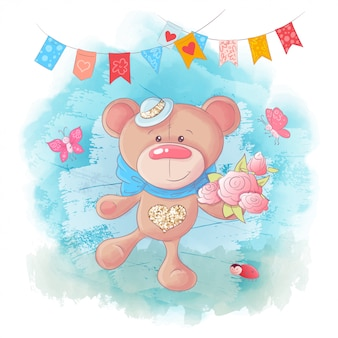Vector cute cartoon teddy bear on blue background
