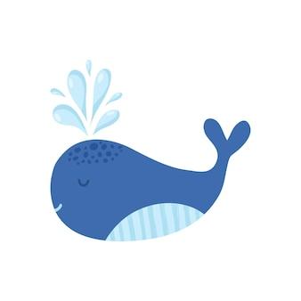 白い背景の上のかわいい漫画のクジラをベクトルします。クジラのベクトル図です。