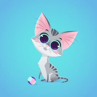 Vector cute cat character illustration. cartoon style. gray cat with ball toy. pet.
