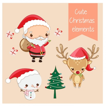 Vector of cute christmas elements