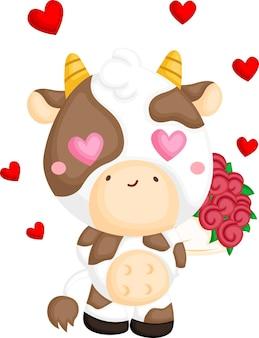 Un vettore di una mucca carina innamorata