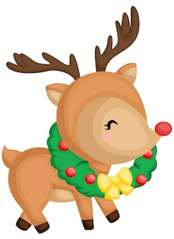 A vector of a cute deer in a wreath