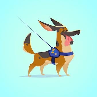 ベクトルかわいい犬のキャラクターイラスト。漫画のスタイル。舌を出して幸せなジャーマンシェパードの子犬。ペット。