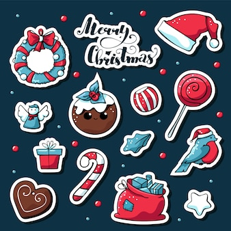 Vector cute doodle christmas stickers with merry christmas lettering.