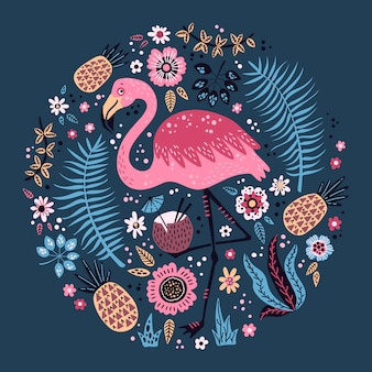 Vector cute flamingo surrounded by tropical fruits, plants and flowers.