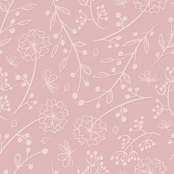 분홍색 배경에 벡터 귀여운 꽃 패턴입니다. 섬세한 나뭇가지와 잎사귀. 줄기에 피는 꽃, 열매, 새싹을 낙서하세요. 프리미엄 벡터