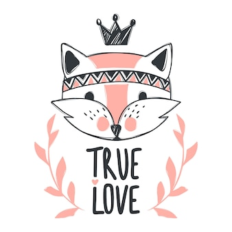 Vector cute fox. cartoon style. tribal animals portrait. doodle illustration. for posters, greeting cards, t-shirt and prints. cartoon design. true love.