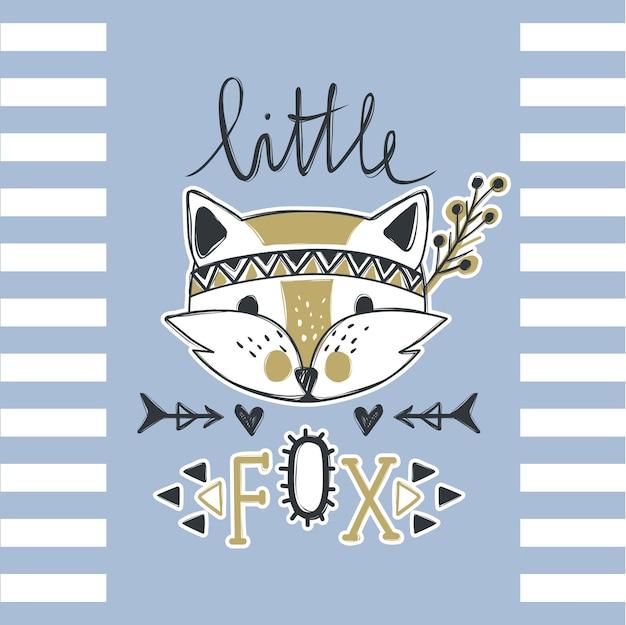 Vector cute fox. cartoon style. tribal animals portrait. doodle illustration. t-shirt print. textile graphic.