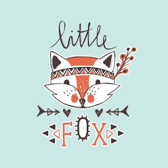 Vector cute fox. cartoon style. tribal animals portrait.