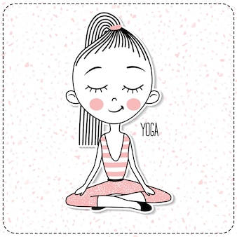 Vector cute girl practicing yoga.