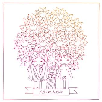 아담과 이브와 함께 분홍색 그림을 그리는 벡터 귀여운 손