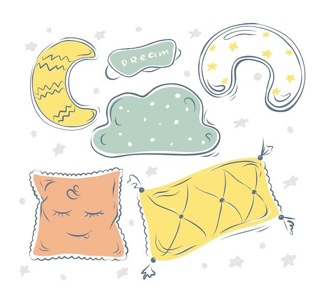 벡터 귀여운 손 - 수면 마스크가 있는 베개 세트. 휘게. 격리 된 배경입니다.