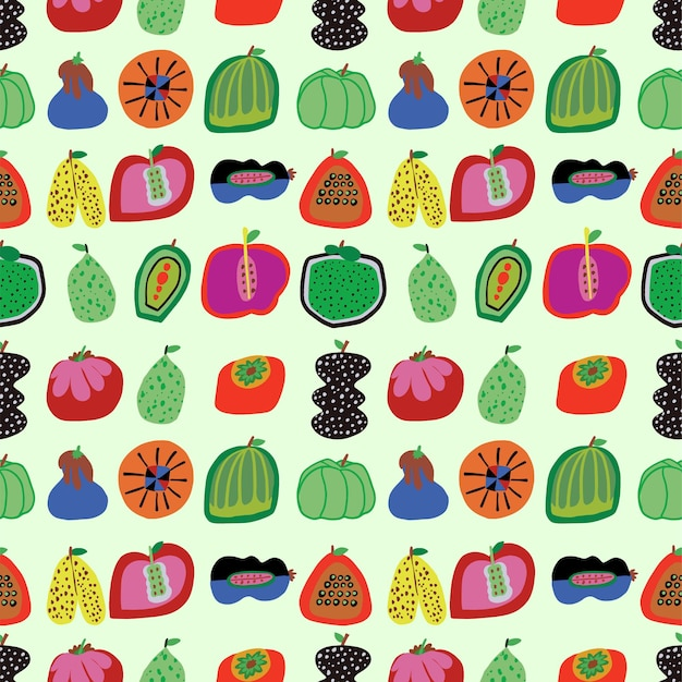 Vector cute handdrawn vegetables and fruits illustration seamless repeat pattern home decor print