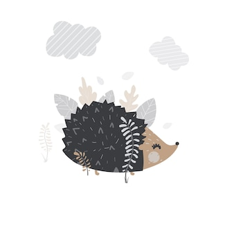 Vector cute hedgehog.