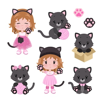 Vector cute little baby girl in cat costume and cats