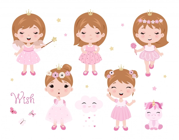 Vector cute little baby girl dressed as princess