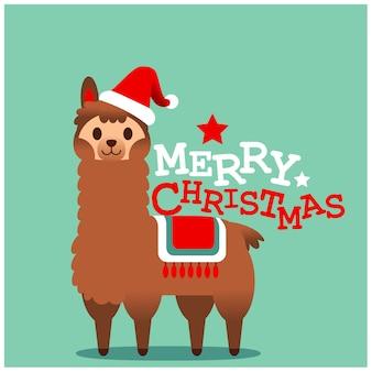 Vector cute llama, alpaca character, merry christmas card