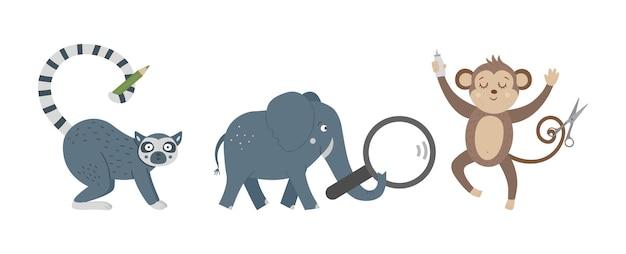Вектор милые обезьяны слон и лемур забавные тропические экзотические животные
