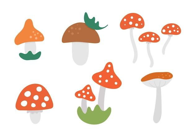 벡터 귀여운 버섯 세트입니다. 가을 식물 컬렉션입니다. 죽음의 모자 팩. 재미 있는 버섯 그림